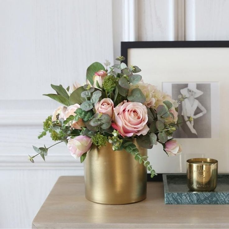 Light Pink Rose Hydrangea Mixed Greenery In Metal Gold Vase 14 Tall In 2020 Flower Arrangements Simple Pink Flower Arrangements Flower Arrangements Diy