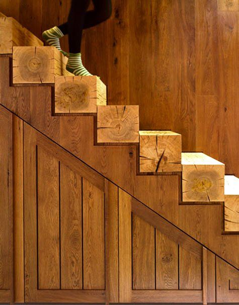salvaged wood stair risers. *drool*