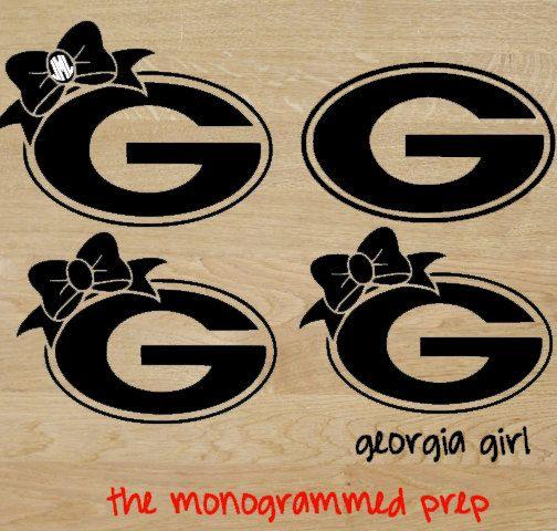 Georgia bulldogs monogram car decal sticker by themonogrammedprep