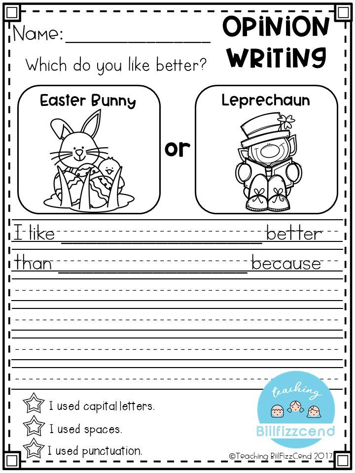 opinion writing prompts kindergarten Persuasive writing graphic organizer this printable graphic organizer will help students organize their writing the worksheet has boxes for students to write an opinion, reasons, details, and a counterargument.