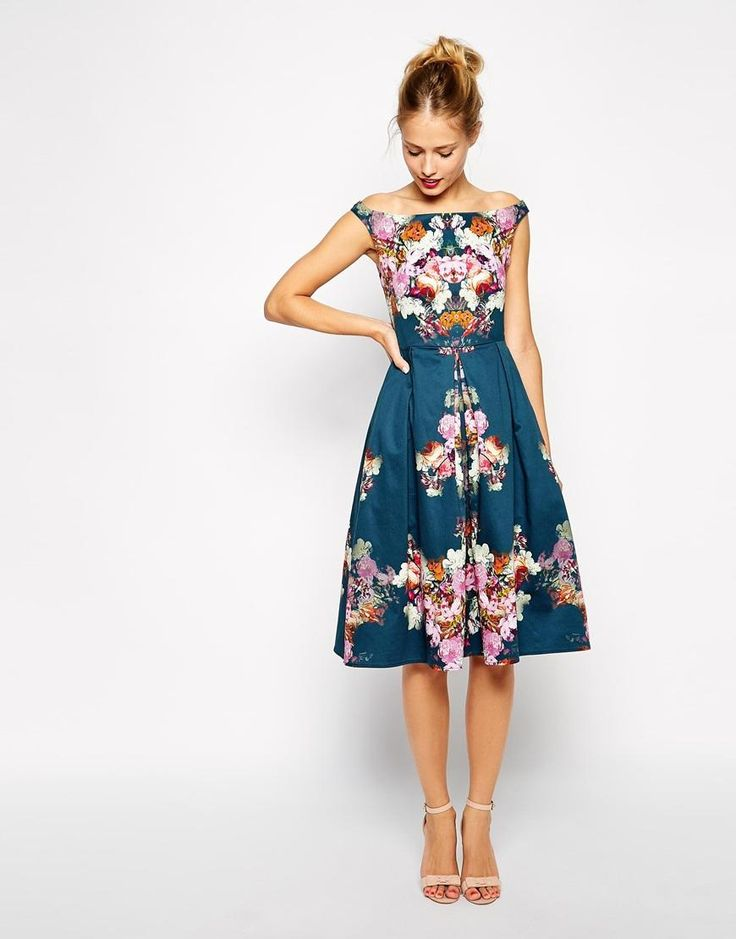 Vintage Winter Floral Midi Bardot Dress at ASOS  Amazing floral pattern, great color too.