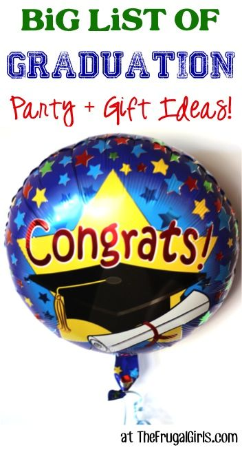 Graduation Party Ideas!  24 Epic Parties your high school or college grad will love!   Whether boys or girls, this list is loaded with fun decor tips, party food, gift ideas and more for grads!!   TheFrugalGirls.com