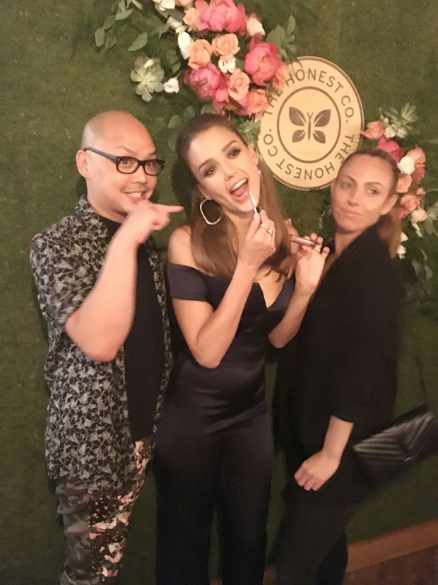 Jessica Alba with her beauty team, makeup artist Daniel Martin and hairstylist Jennifer Yepez. http://beautyeditor.ca/2016/07/04/honest-company-canada