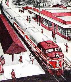 Train Station - detail from 1963 cover Rock Island Railroad time table.