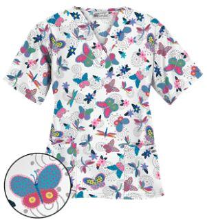 UA Boho Butterfly White Scrub Top   Our classic V-neck scrub top offers three pockets for storage: two fronts pocket and a cell phone pocket. Style # PC61BOW #uniformadvantage #uascrubs #adayinscrubs #printscrubs #fashionscrubs #butterflyscrubs #nurse #scrubs