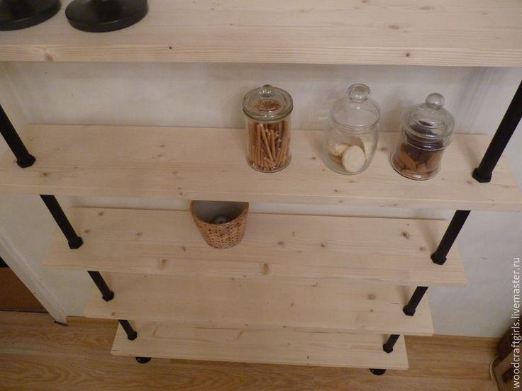 Купить Стеллаж Лофт - комбинированный, лофт, на заказ, стеллаж, трубы, масло, современный стиль, сосна