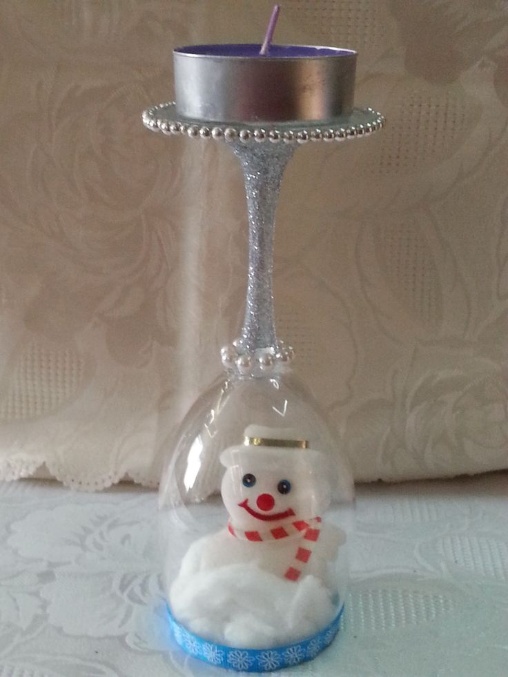 SOLD Snowman Christmas Candle holder
