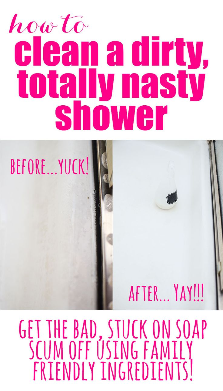How to Freshen a Dirty, Yucky, Totally Nasty Shower get stuck on soap scum off with this family friendly DIY Shower Cleaner!