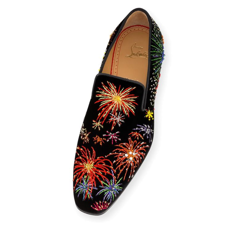 Souliers Homme - Henri On Fire  Velours Brode Fireworks - Christian Louboutin