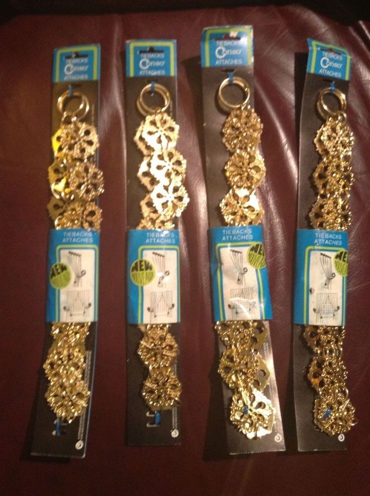 TWO Vintage Brass/Gold Metal Drapery Curtain CONSO TIE BACK Hook Chain NIP STAR #Conso