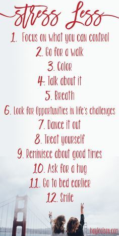 Finals week can be stressful. Use this list to help you get through any stressful situation! Click through to read more, or pin to save for later. :) http://www.hayleolson.com