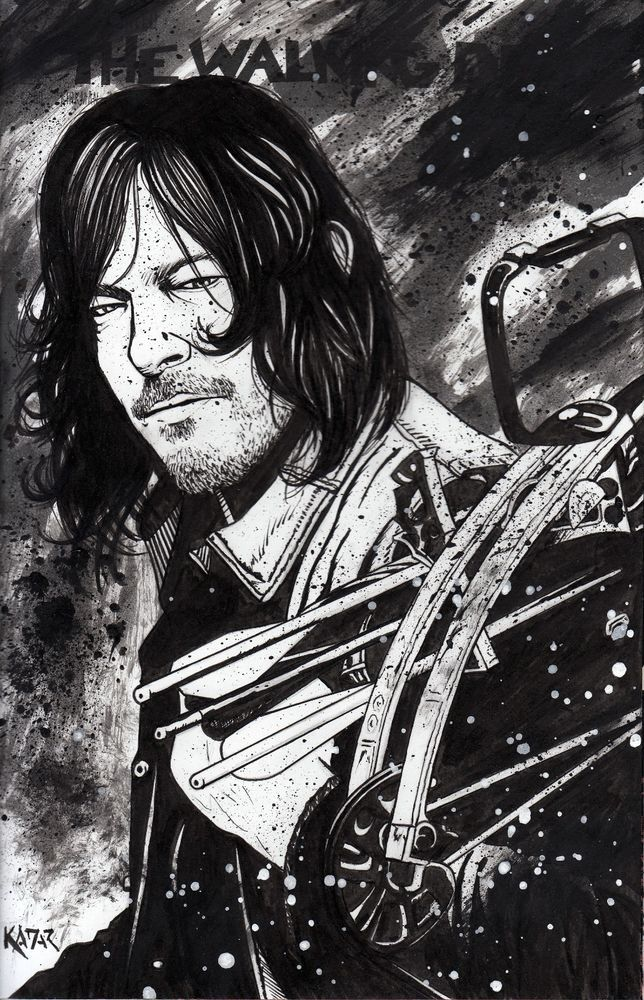 The Walking Dead #150 Daryl Dixon painted sketch cover by Frank Kadar