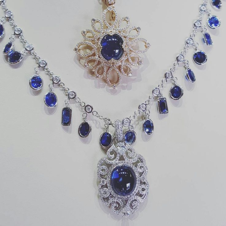 Sapphires. Sapphires everywhere. #EricaCourtney #DropDeadGorgeous #Sapphire #UniqueJewelry #JackLewisJewelers