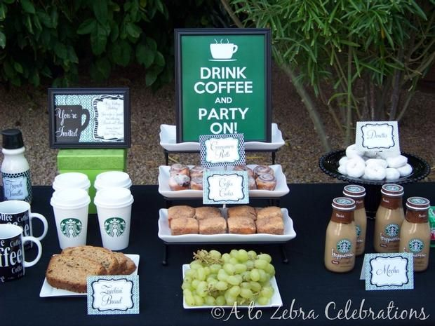 Coffee Party- Great for girls get-togethers :): Coffee Bar, Theme Parties, Amazing Site, Birthday Brunch, Brunch Parties, Bridal Shower, Beautiful Parties, Parties Ideas, Food Bar