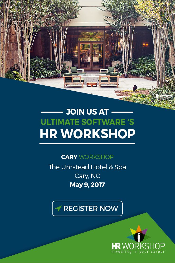 If you're in the Raleigh, NC area, you won't want to miss this complimentary HR workshop happening May 9th at The Umstead Hotel in Cary! Learn about innovative tools you can use to transform engagement using startup techniques, get involved in your company's business strategy, and minimize exposure to wage-and-hour lawsuits. Be sure to register and check out the full agenda here: http://ulti.pro/2ngjyTU