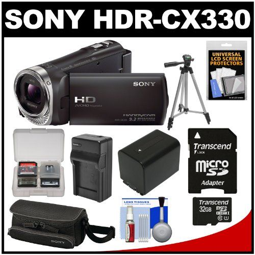 Sony Handycam HDR-CX330 1080p Full HD Video Camera Camcorder with 32GB Card + Battery + Charger + Case + Tripod Kit  Read full technical specifications and see more photos on http://techspecifications.net