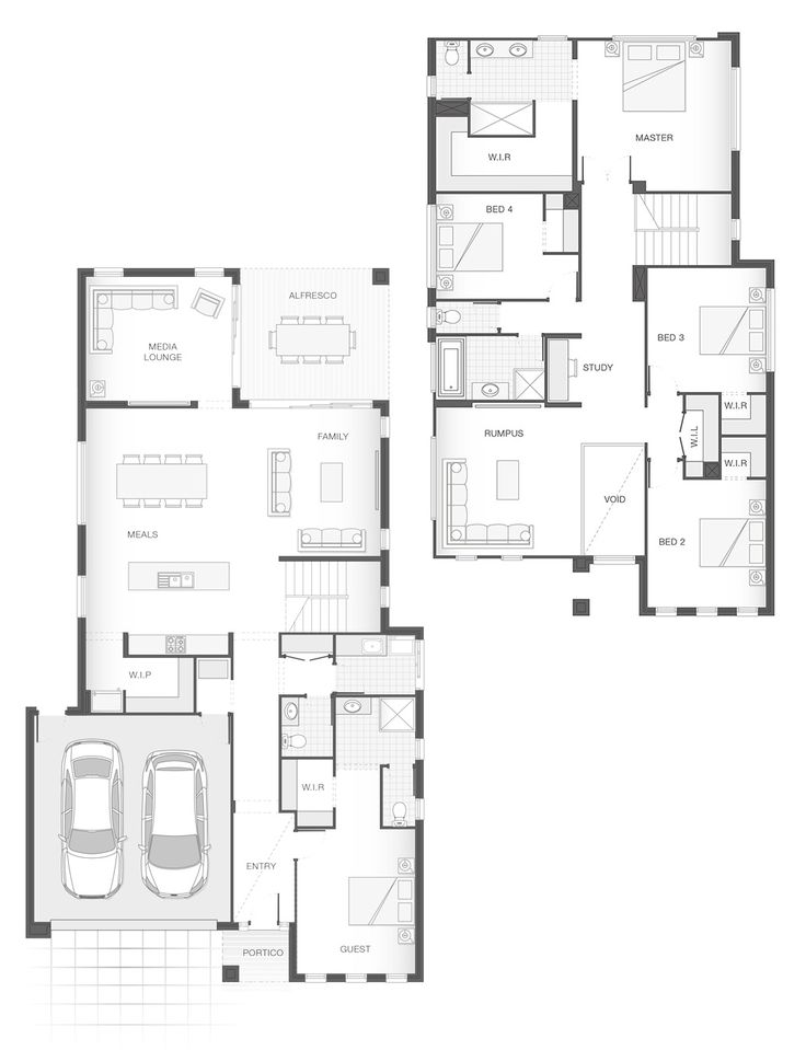 The BELMORE Double Storey Home Design. 5 Bedrooms. 3.5 Bathrooms. 2 Car  Garage