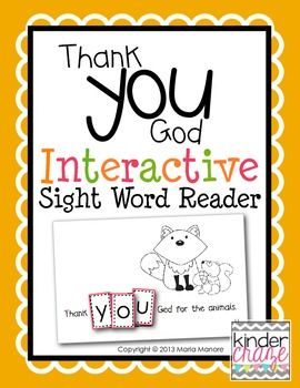 """Interactive Sight Word Reader """"Thank YOU God"""""""