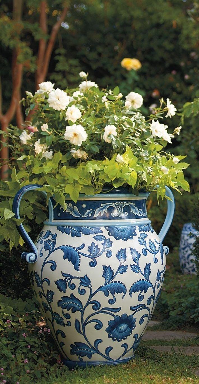Blue & White Garden Painted Planter.