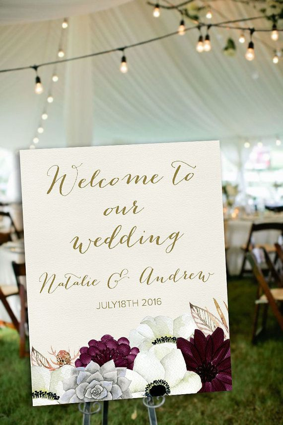 Wedding Welcome Sign Printable, Floral Welcome Sign, Succulent Welcome Poster, Shower Welcome Sign, Boho Welcome Sign, Gold and Burgundy Wedding Ideas. Matching wedding invitation and signs available at: lipamea.etsy.com