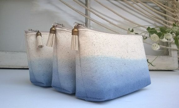 Set of 4 - Blue Bridesmaid Gifts, Rustic Wedding Ideas, Burlap Linen Clutch, Royal Blue
