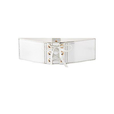 Metallic Lace-Up Waist Belt