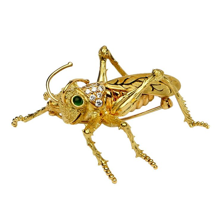 Kurt Wayne grasshopper brooch  From a unique collection of vintage brooches at http://www.1stdibs.com/jewelry/brooches/brooches/