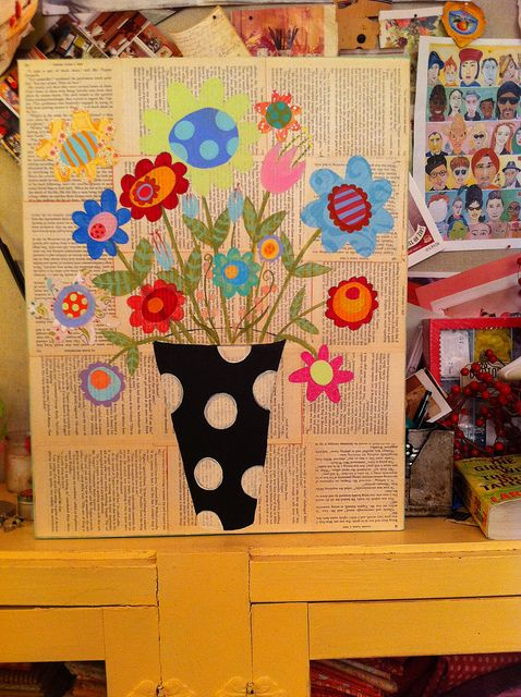 love the color collage on the newspaper background.