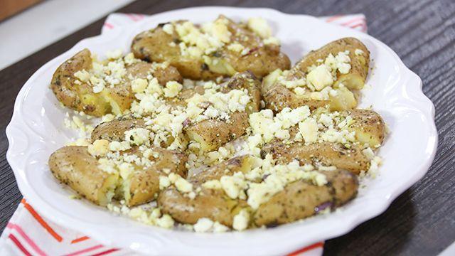 RECIPE: Smashed Feta Potatoes #Recipe #Food