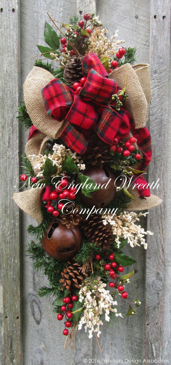 Christmas Wreath, Christmas Swag, Holiday Door Wreath, Sleigh Bells, Woodland Christmas Swag, Country Christmas, Rustic Christmas Wreath by NewEnglandWreath on Etsy