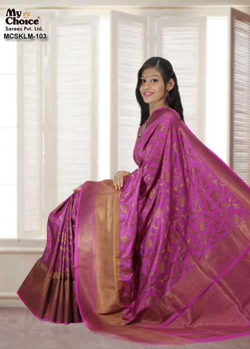 PURPLE COLOR KOOLAM SILK SAREE