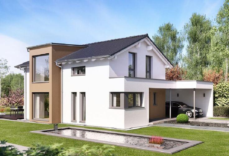 Edition 4 V2 - Bien Zenker - http://www.hausbaudirekt.de/haus/edition-4-v2/ - Fertighaus als Einfamilienhaus Modernes Haus Stadthaus mit Satteldach