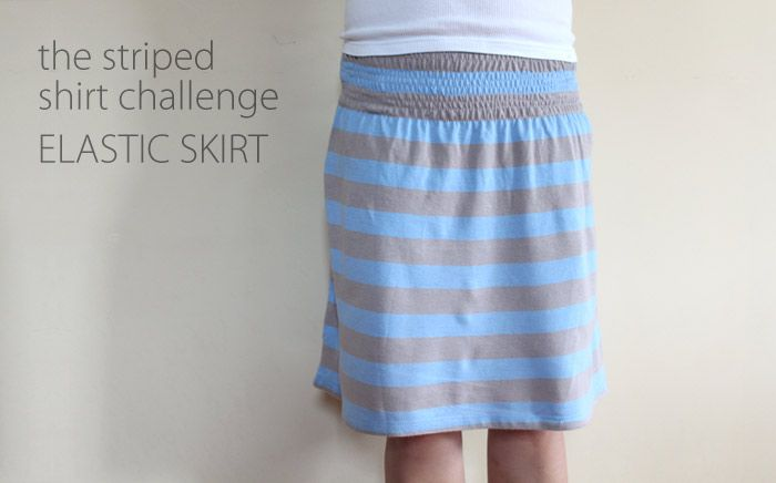 Elastic Skirt from tshirt: Waist Skirts, Easy Skirts, Elastic Skirts, Stripes Shirts, Diy Clothing, Polo Shirts, T Shirts, Shirts Challenges, Clothing Crafts