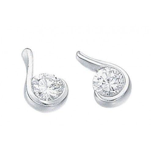 Silver Essentials Cubic Zirconia Stud Earrings at aquaruby.com