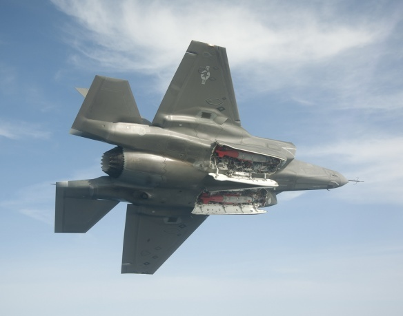 F-35B with weapons bay doors open