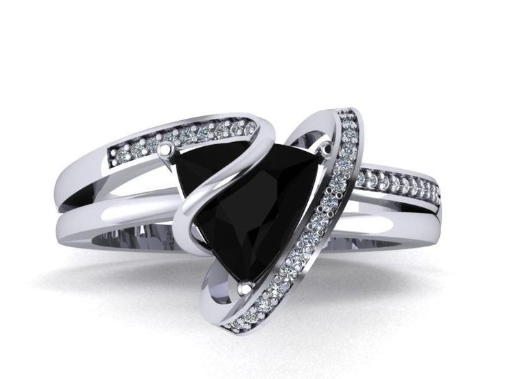 14K white gold 2.5ct Black Trillion Topaz ring with SI-GH Natural Diamond   #Solitaire