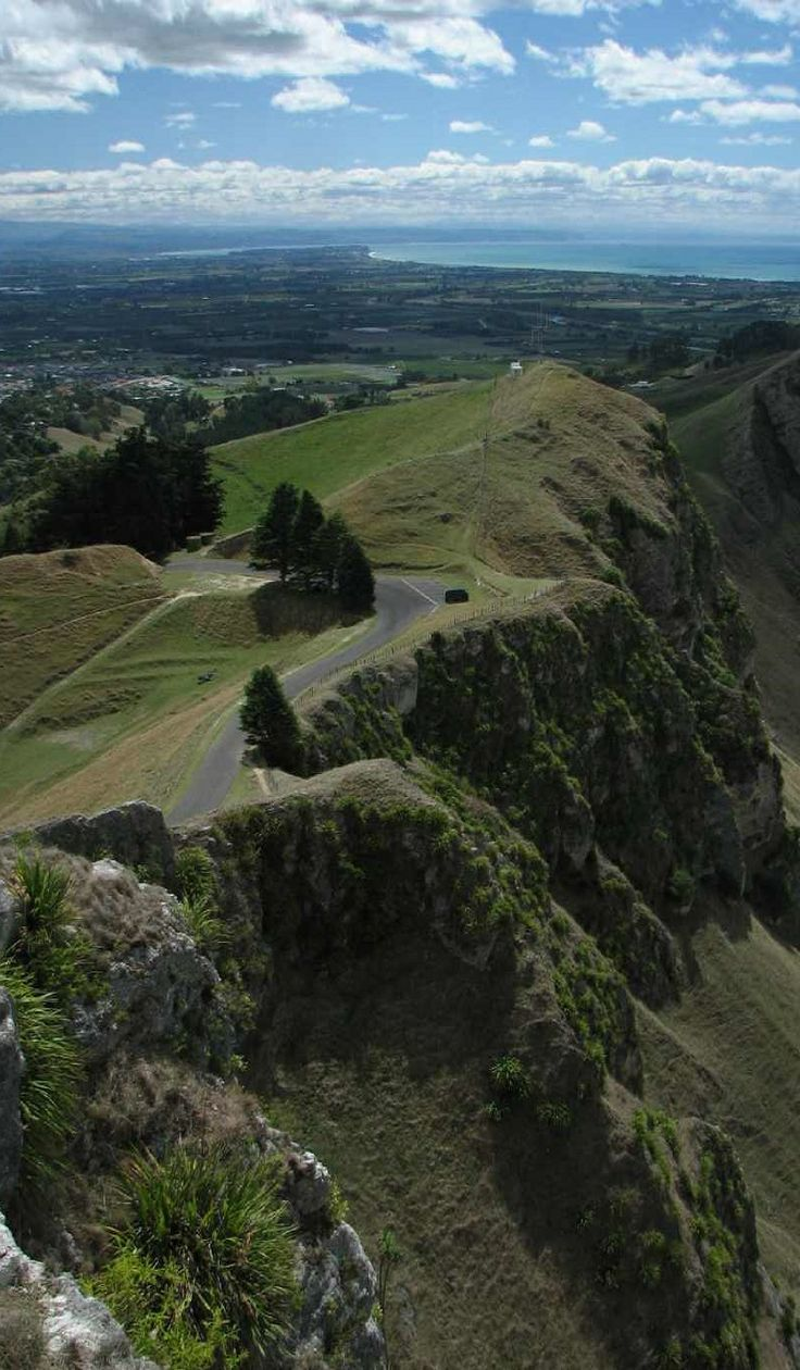 Looking down at the parking spot for the walk up Te Mata's Peak near Havelock North