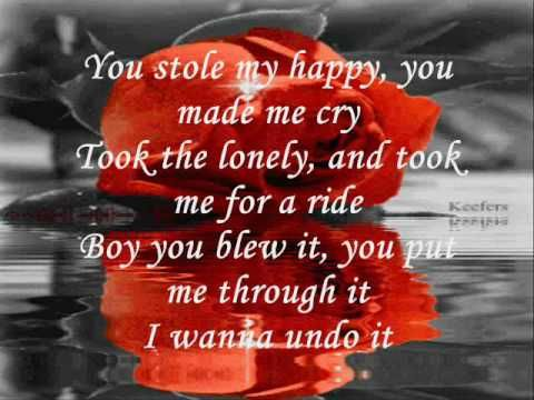 The song Undo It by Carrie Underwood w/lyrics on screen. Enjoy!  *comment, fav, like, & subscribe!* thnx!   ~~~ LINKS!!!! ~~~  Red Umbrella Pic: http://picture-photo.net/wp-content/uploads/2010/02/Love45454.jpg  Red Rose animation: http://media.photobucket.com/image/keefers%20rose%20animation/Keefers_/Keefers_AnimatedRose6.gif  Wiltin...