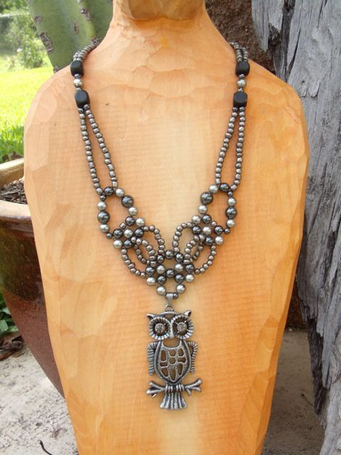 grey crystal eyed owl pendant adjustable collar