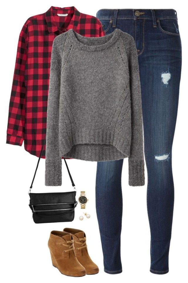 """""""Buffalo checks, gray sweater & wedge boots"""" by steffiestaffie ❤ liked on Polyvore featuring Hudson, H&M, Whistles, Dolce Vita, VPL and Michael Kors"""