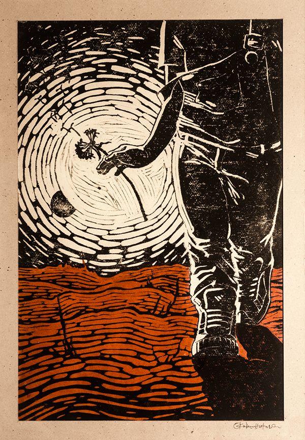 "Linocut illustration of Ray Bradbury's ""Martian Chronicles '' by Svetlana Okoneshnikova"