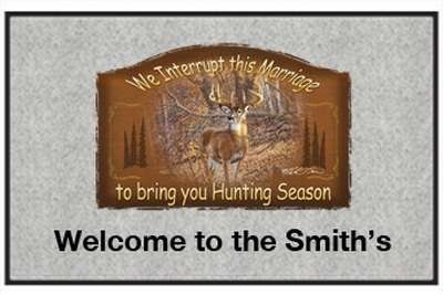 "We Interrupt Deer Season - Big Game Animal - Gray, Personalized - Door and Welcome Mat (send email with text desired to Outdoor Specialties) by Express Yourself Mats. $34.83. Non-Skid Backing. Door Mat Size 27""x18"". Personalization Available (choose above) - EMAIL TEXT TO SELLER AFTER CHECKOUT. Great Gift Idea!. Made in USA. Enjoy the We Interrupt Deer Season design heat pressed on this light-weight, low pile, woven polyester door mat. This decorative welcome mat measure..."