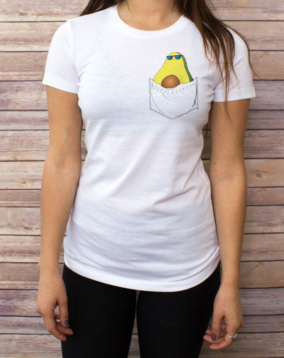Avocado Pocket T shirt, V Neck, tank top, Baseball Tee, sweatshirt, Hoodie, Zip Up Hoodie S, M, L, XL  Some shirt styles run small.. PLEASE VIEW SHIRT SIZES BEFORE PURCHASING: https://www.etsy.com/listing/216514245/womens-shirt-style-and-sizes  NOTE: SWEATSHIRT AND HOODIE SIZES ARE UNISEX  Bee's Pocket Tees are cotton pocketless shirts with custom designs that create clever and imaginative virtual pockets! With over 40 original, hand-drawn designs, be sure to check out our entire shop to…