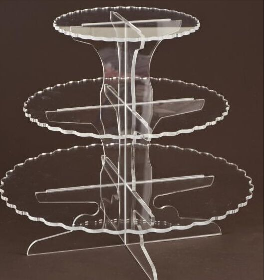 Beautiful 3 Tiers Acrylic Cake Stand Display, PMMA Cup Cake Stand Free Shipping