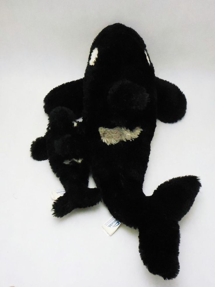 "SeaWorld 15"" Shamu and 7"" Baby Orca Killer Whales, stuffed plush animal #SeaWorld"