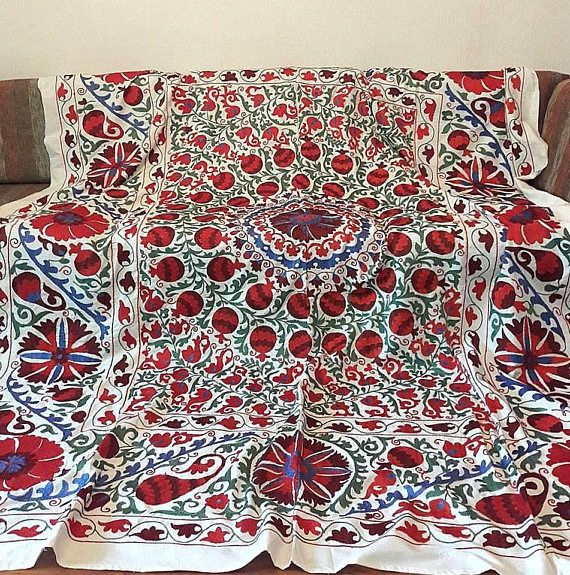 A bright Suzani Handmade from Uzbekistan.Tablecloth Wall
