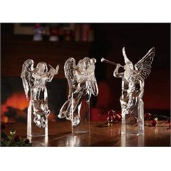 Pack of 3 Icy Crystal Decorative Religious Christmas Angels for my living room decorations