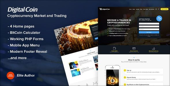 Digital Coin Cryptocurrency Marketing And Trading Site Template Template Site Digital Coin Cryptocurrency