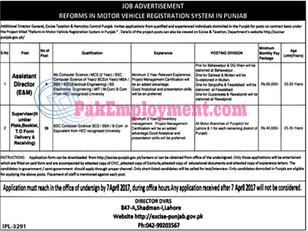 Motor Vehicle Registration System of Punjab Jobs 2017Last Date of Submission Application Form is 07 April 2017Vacancies  Assistant Director  Supervisor  Terms & Conditions  No TA/DA shall be admissible  Only short listed candidates should call for test/interview  Download Application form from www.excise-punjab.gov.pk