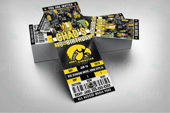 2.5x6 Iowa Hawkeyes Football Sports Party by sportsinvites